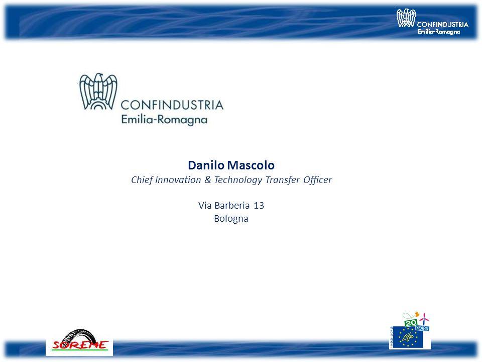 … contact Danilo Mascolo Chief Innovation & Technology Transfer Officer Via Barberia 13 Bologna