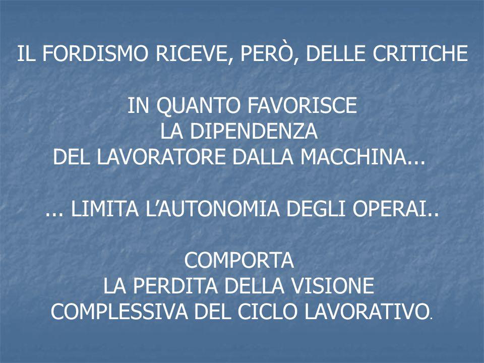 IL FORDISMO RICEVE, PERÒ, DELLE CRITICHE IN QUANTO FAVORISCE LA DIPENDENZA DEL LAVORATORE DALLA MACCHINA...... LIMITA LAUTONOMIA DEGLI OPERAI.. COMPOR