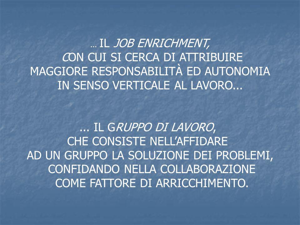 ... IL JOB ENRICHMENT, CON CUI SI CERCA DI ATTRIBUIRE MAGGIORE RESPONSABILITÀ ED AUTONOMIA IN SENSO VERTICALE AL LAVORO...... IL GRUPPO DI LAVORO, CHE