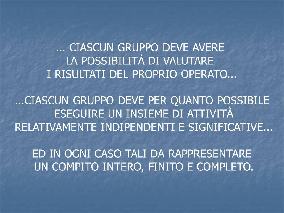 ... CIASCUN GRUPPO DEVE AVERE LA POSSIBILITÀ DI VALUTARE I RISULTATI DEL PROPRIO OPERATO......CIASCUN GRUPPO DEVE PER QUANTO POSSIBILE ESEGUIRE UN INS