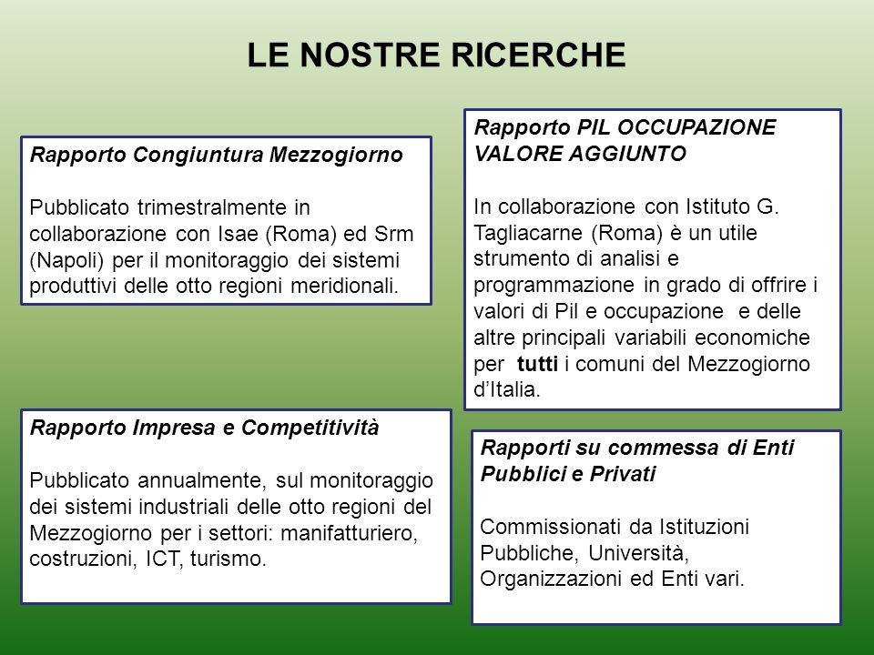 LE NOSTRE RICERCHE Rapporto Congiuntura Mezzogiorno Pubblicato trimestralmente in collaborazione con Isae (Roma) ed Srm (Napoli) per il monitoraggio dei sistemi produttivi delle otto regioni meridionali.