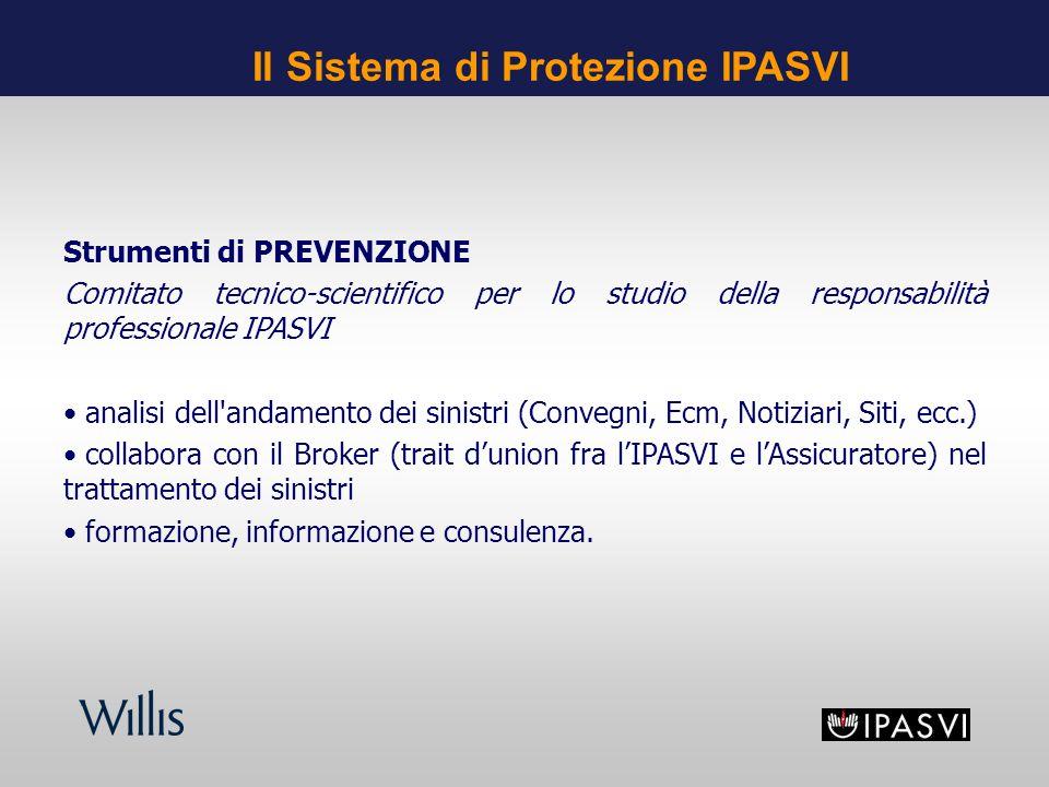 Strumenti di PREVENZIONE Comitato tecnico-scientifico per lo studio della responsabilità professionale IPASVI analisi dell'andamento dei sinistri (Con