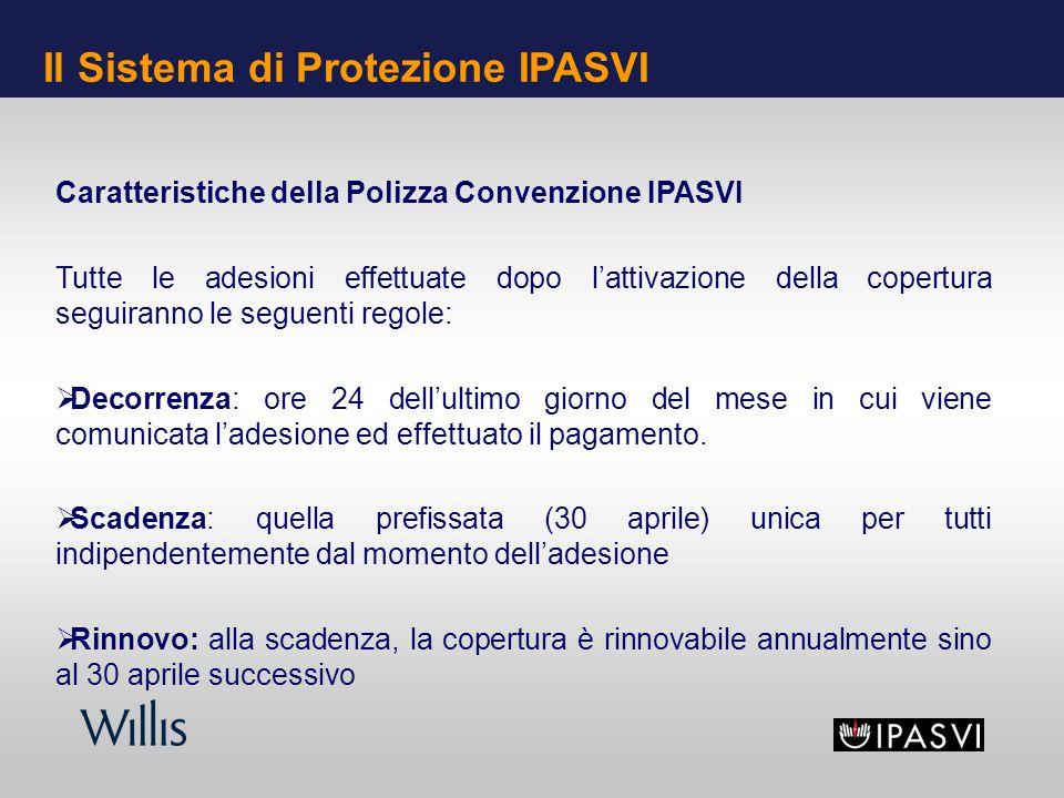 Caratteristiche della Polizza Convenzione IPASVI Tutte le adesioni effettuate dopo lattivazione della copertura seguiranno le seguenti regole: Decorrenza: ore 24 dellultimo giorno del mese in cui viene comunicata ladesione ed effettuato il pagamento.