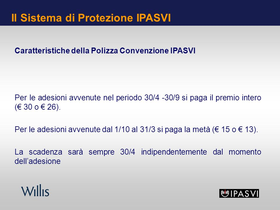 Caratteristiche della Polizza Convenzione IPASVI Per le adesioni avvenute nel periodo 30/4 -30/9 si paga il premio intero ( 30 o 26). Per le adesioni