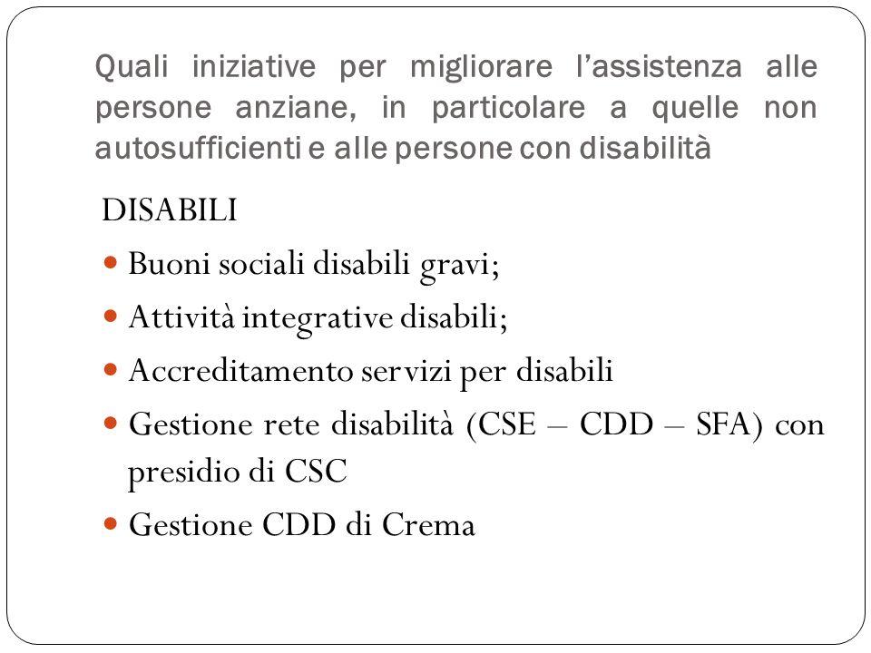 DISABILI Buoni sociali disabili gravi; Attività integrative disabili; Accreditamento servizi per disabili Gestione rete disabilità (CSE – CDD – SFA) c