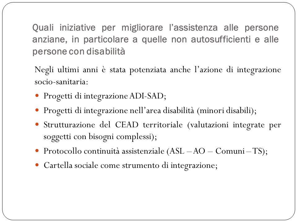 Negli ultimi anni è stata potenziata anche lazione di integrazione socio-sanitaria: Progetti di integrazione ADI-SAD; Progetti di integrazione nellare