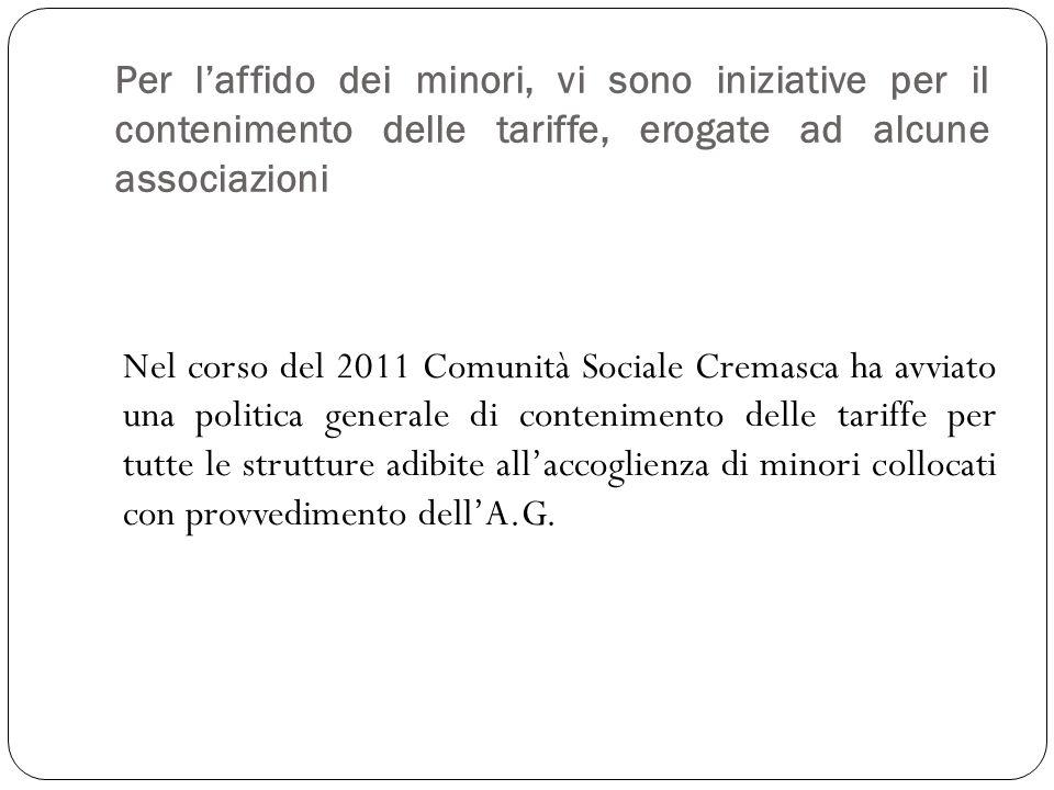Per laffido dei minori, vi sono iniziative per il contenimento delle tariffe, erogate ad alcune associazioni Nel corso del 2011 Comunità Sociale Crema