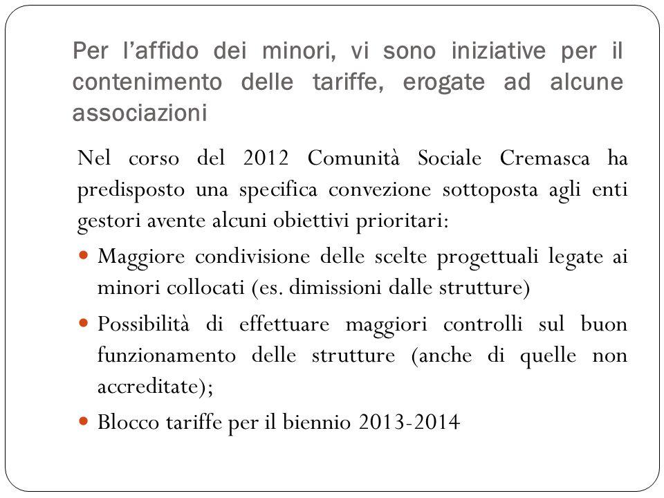 Per laffido dei minori, vi sono iniziative per il contenimento delle tariffe, erogate ad alcune associazioni Nel corso del 2012 Comunità Sociale Crema