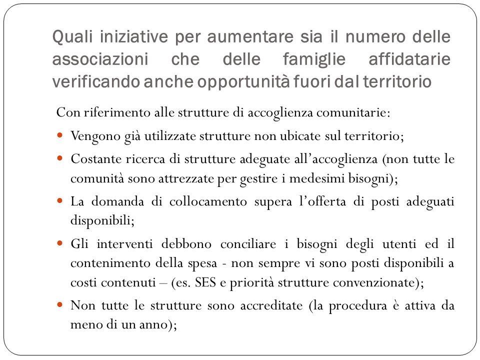 Quali iniziative per aumentare sia il numero delle associazioni che delle famiglie affidatarie verificando anche opportunità fuori dal territorio Con