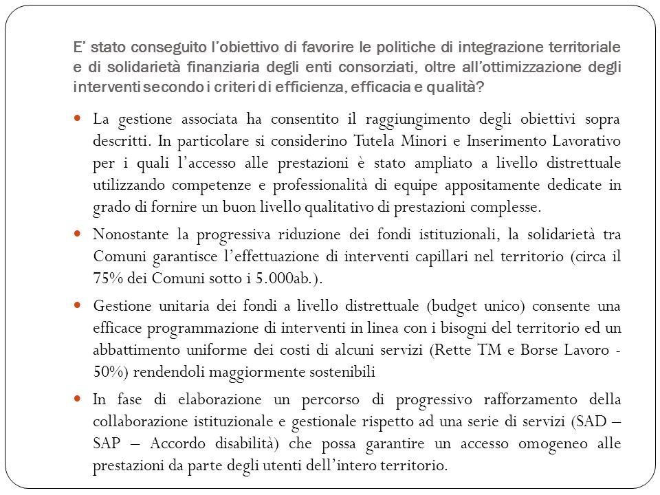 E stato conseguito lobiettivo di favorire le politiche di integrazione territoriale e di solidarietà finanziaria degli enti consorziati, oltre allottimizzazione degli interventi secondo i criteri di efficienza, efficacia e qualità.