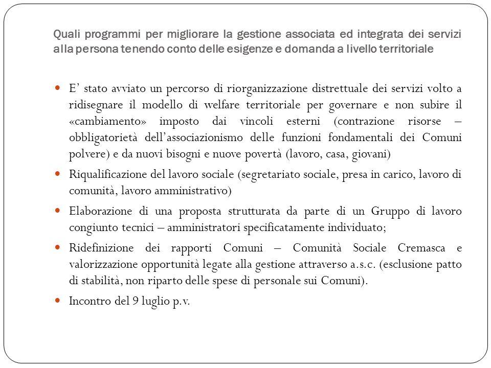Investimenti sul personale «affidi» – Tempi – Dotazione organica attuale – Tavolo di programmazione Contesto di tensione tra bisogni e risorse (mancanza di bilancio preventivo) AS: 18h/sett.