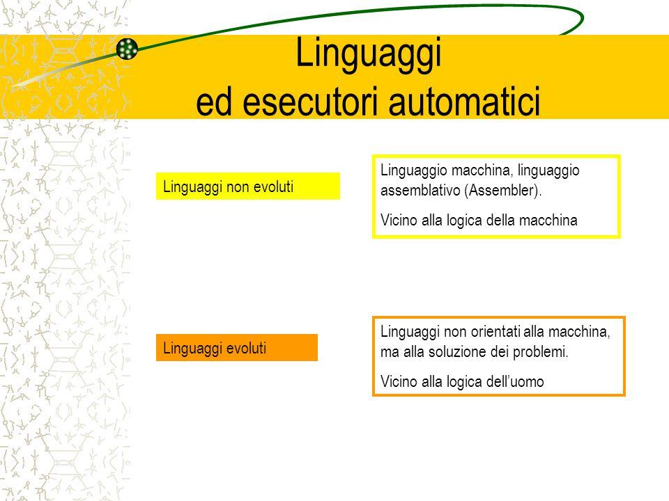 Linguaggi ed esecutori automatici Linguaggi non evoluti Linguaggio macchina, linguaggio assemblativo (Assembler).