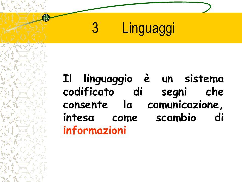 3 Linguaggi Il linguaggio è un sistema codificato di segni che consente la comunicazione, intesa come scambio di informazioni