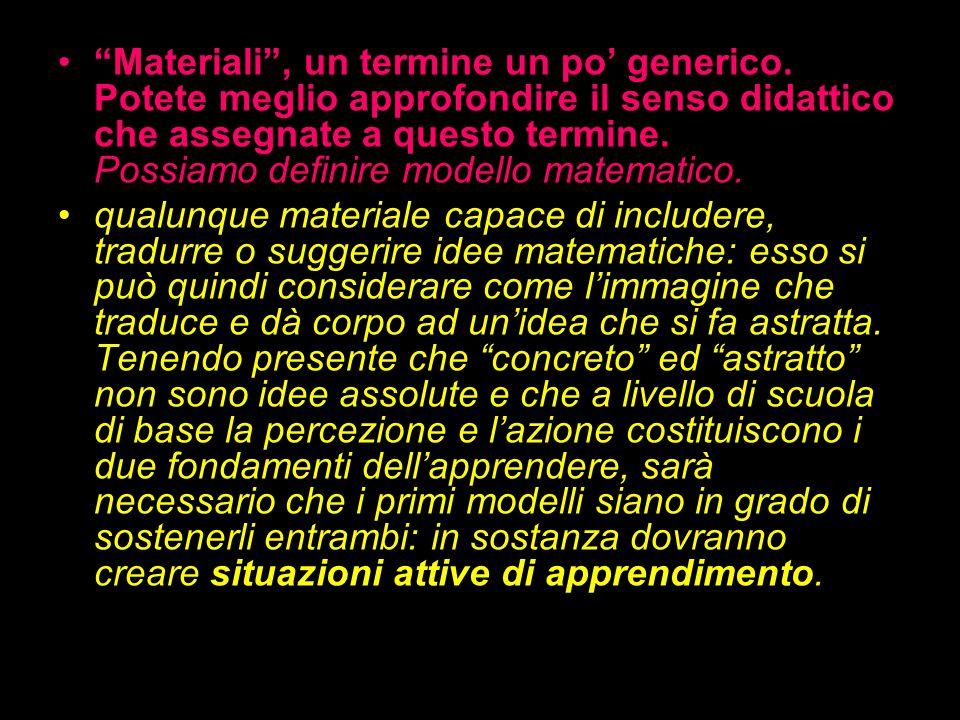 Materiali, un termine un po generico. Potete meglio approfondire il senso didattico che assegnate a questo termine. Possiamo definire modello matemati