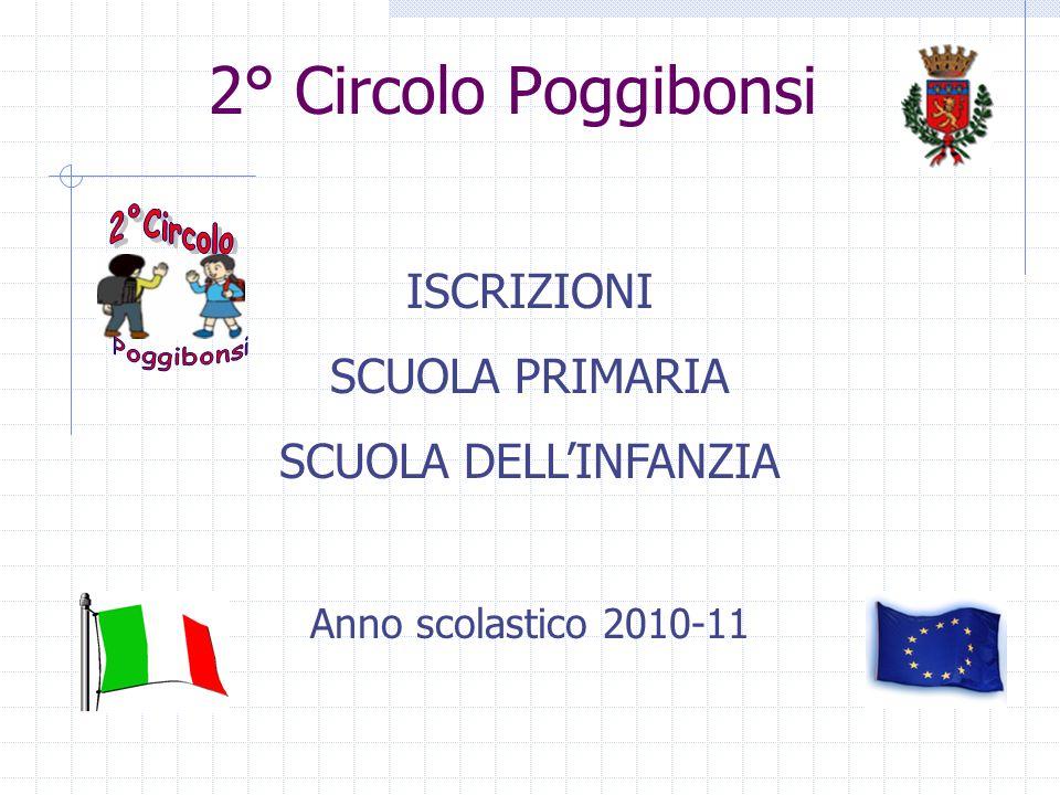 2° Circolo Poggibonsi ISCRIZIONI SCUOLA PRIMARIA SCUOLA DELLINFANZIA Anno scolastico 2010-11