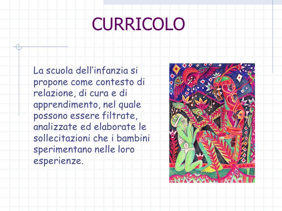 CURRICOLO La scuola dellinfanzia si propone come contesto di relazione, di cura e di apprendimento, nel quale possono essere filtrate, analizzate ed elaborate le sollecitazioni che i bambini sperimentano nelle loro esperienze.