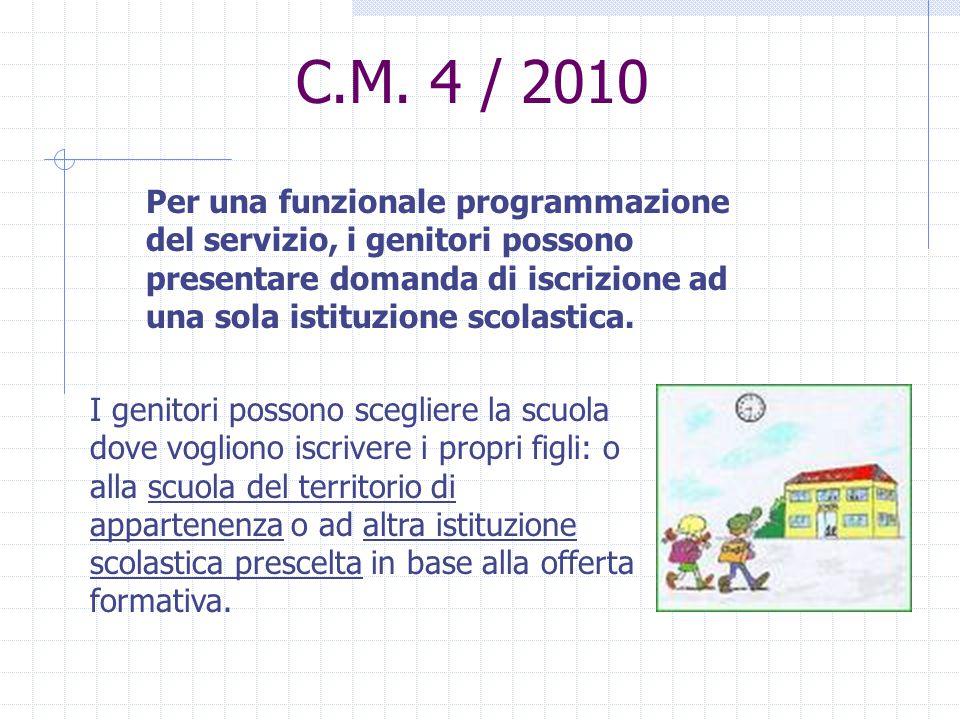 C.M. 4 / 2010 Per una funzionale programmazione del servizio, i genitori possono presentare domanda di iscrizione ad una sola istituzione scolastica.