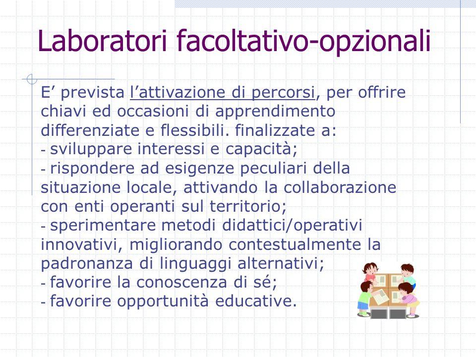 Laboratori facoltativo-opzionali E prevista lattivazione di percorsi, per offrire chiavi ed occasioni di apprendimento differenziate e flessibili.