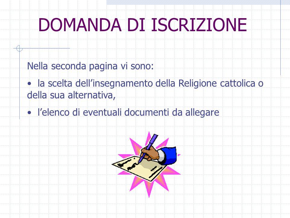 DOMANDA DI ISCRIZIONE Nella seconda pagina vi sono: la scelta dellinsegnamento della Religione cattolica o della sua alternativa, lelenco di eventuali documenti da allegare