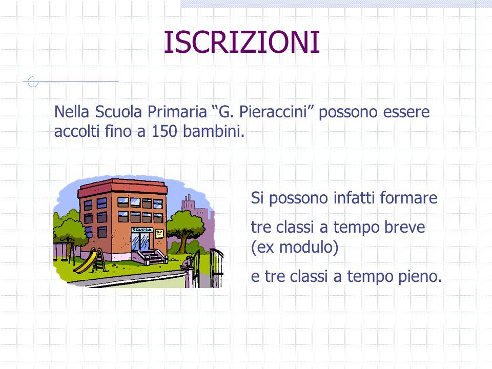 ISCRIZIONI Nella Scuola Primaria G. Pieraccini possono essere accolti fino a 150 bambini.