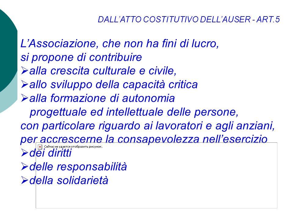 DALLATTO COSTITUTIVO DELLAUSER - ART.5 LAssociazione, che non ha fini di lucro, si propone di contribuire alla crescita culturale e civile, allo svilu