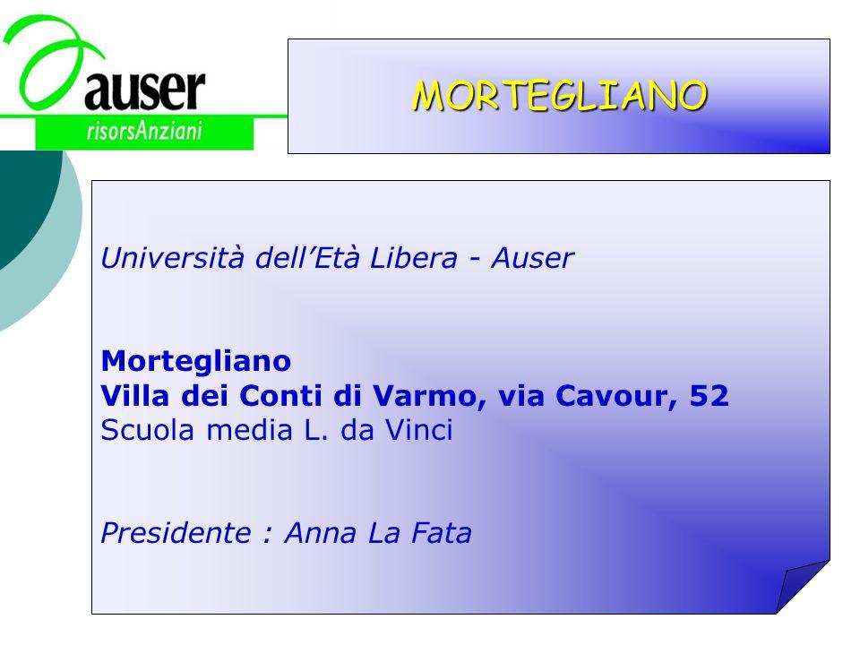 MORTEGLIANO Università dellEtà Libera - Auser Mortegliano Villa dei Conti di Varmo, via Cavour, 52 Scuola media L. da Vinci Presidente : Anna La Fata