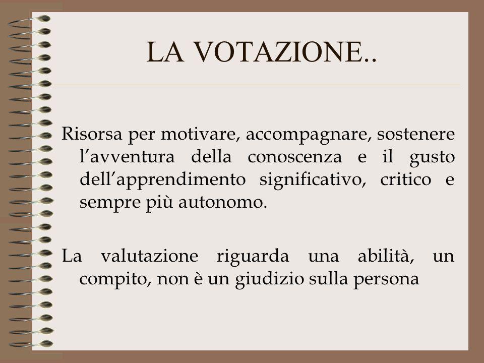 LA VOTAZIONE.. Risorsa per motivare, accompagnare, sostenere lavventura della conoscenza e il gusto dellapprendimento significativo, critico e sempre