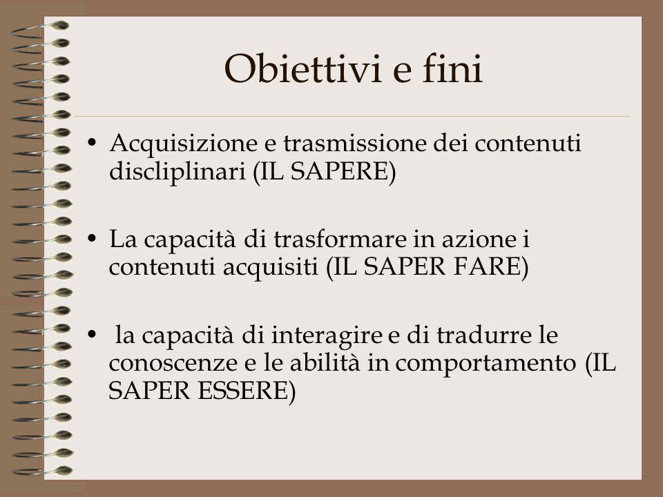 Obiettivi e fini Acquisizione e trasmissione dei contenuti discliplinari (IL SAPERE) La capacità di trasformare in azione i contenuti acquisiti (IL SA