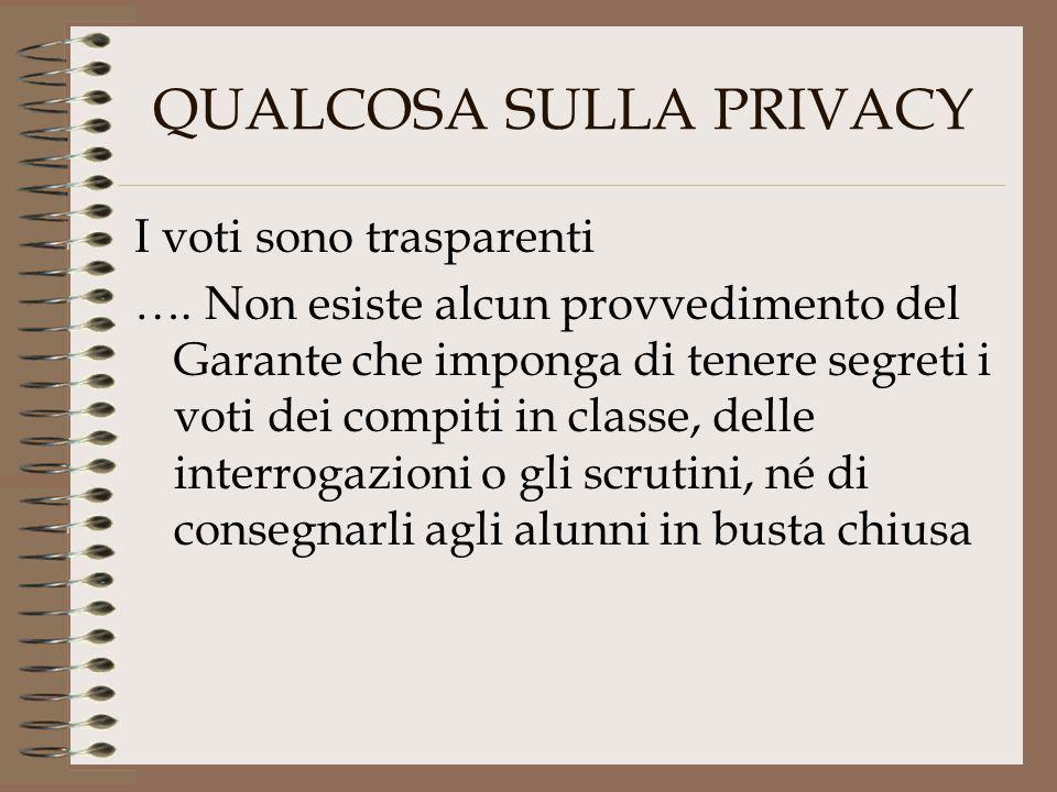QUALCOSA SULLA PRIVACY I voti sono trasparenti …. Non esiste alcun provvedimento del Garante che imponga di tenere segreti i voti dei compiti in class
