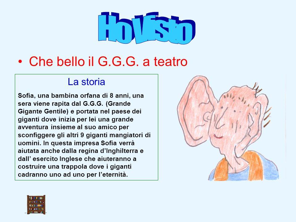 Che bello il G.G.G. a teatro La storia Sofia, una bambina orfana di 8 anni, una sera viene rapita dal G.G.G. (Grande Gigante Gentile) e portata nel pa