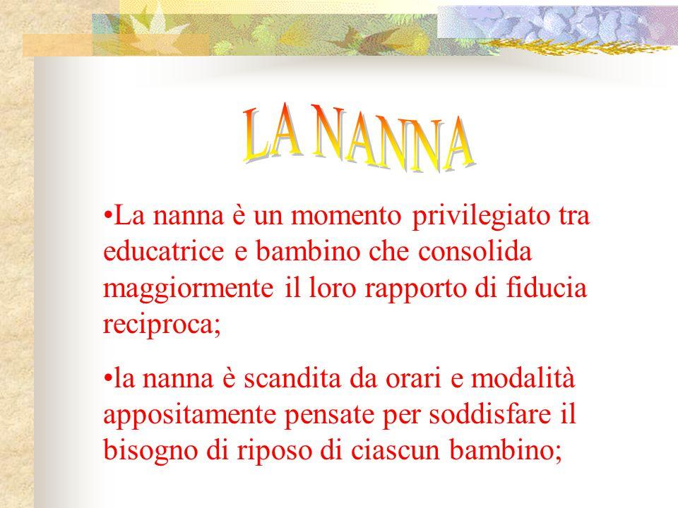 La nanna è un momento privilegiato tra educatrice e bambino che consolida maggiormente il loro rapporto di fiducia reciproca; la nanna è scandita da o