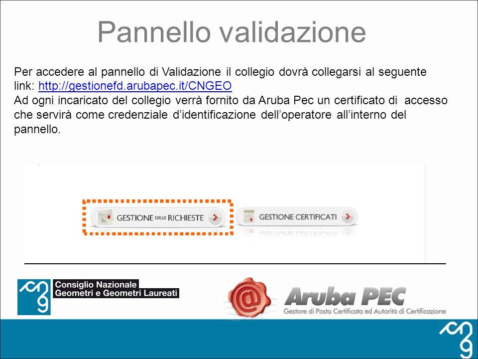 Pannello validazione Per accedere al pannello di Validazione il collegio dovrà collegarsi al seguente link: http://gestionefd.arubapec.it/CNGEOhttp://