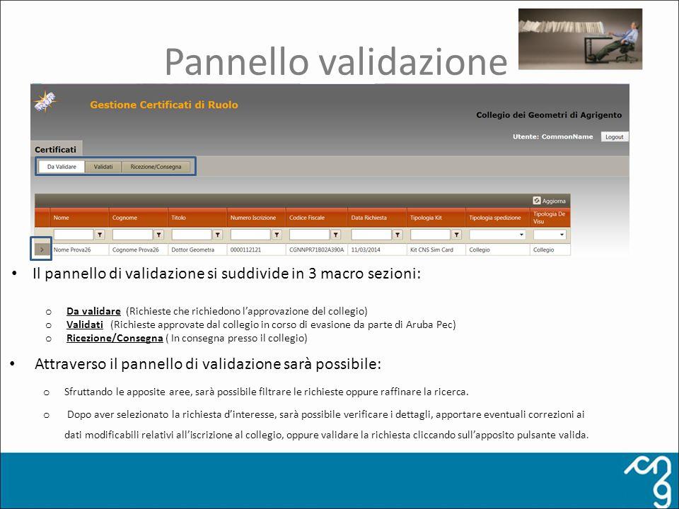 Pannello validazione Attraverso il pannello di validazione sarà possibile: o Sfruttando le apposite aree, sarà possibile filtrare le richieste oppure