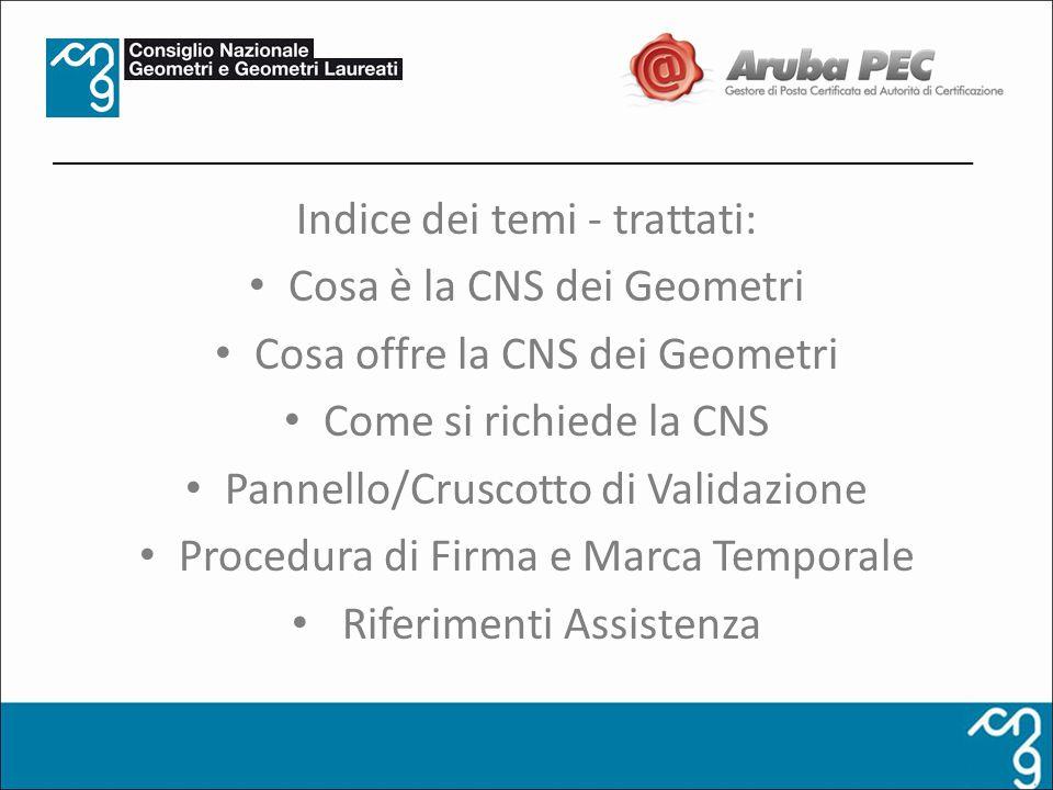 Indice dei temi - trattati: Cosa è la CNS dei Geometri Cosa offre la CNS dei Geometri Come si richiede la CNS Pannello/Cruscotto di Validazione Proced
