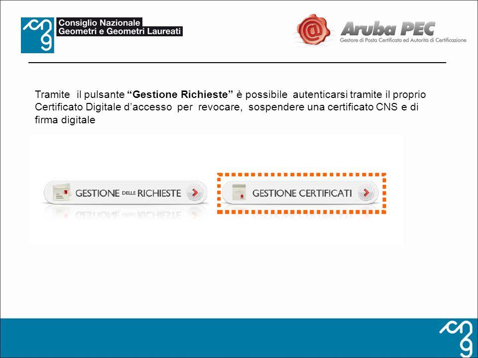 Tramite il pulsante Gestione Richieste è possibile autenticarsi tramite il proprio Certificato Digitale daccesso per revocare, sospendere una certific