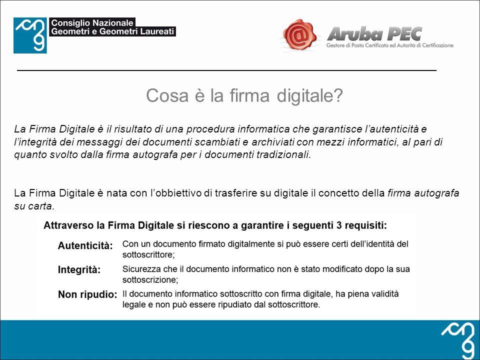 La Firma Digitale è il risultato di una procedura informatica che garantisce lautenticità e lintegrità dei messaggi dei documenti scambiati e archivia