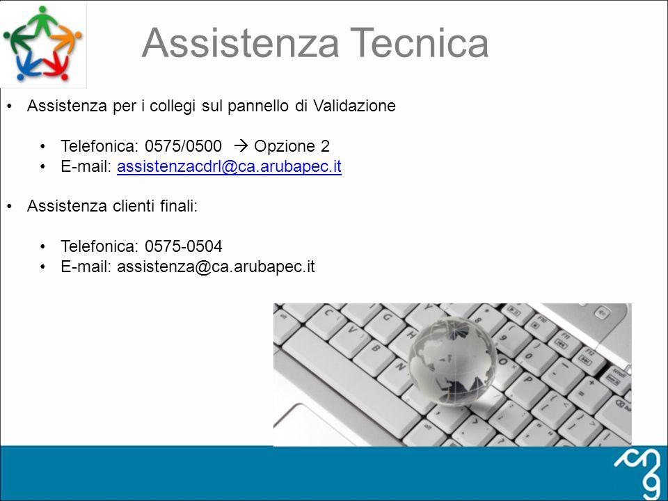 Assistenza Tecnica Assistenza per i collegi sul pannello di Validazione Telefonica: 0575/0500 Opzione 2 E-mail: assistenzacdrl@ca.arubapec.itassistenz