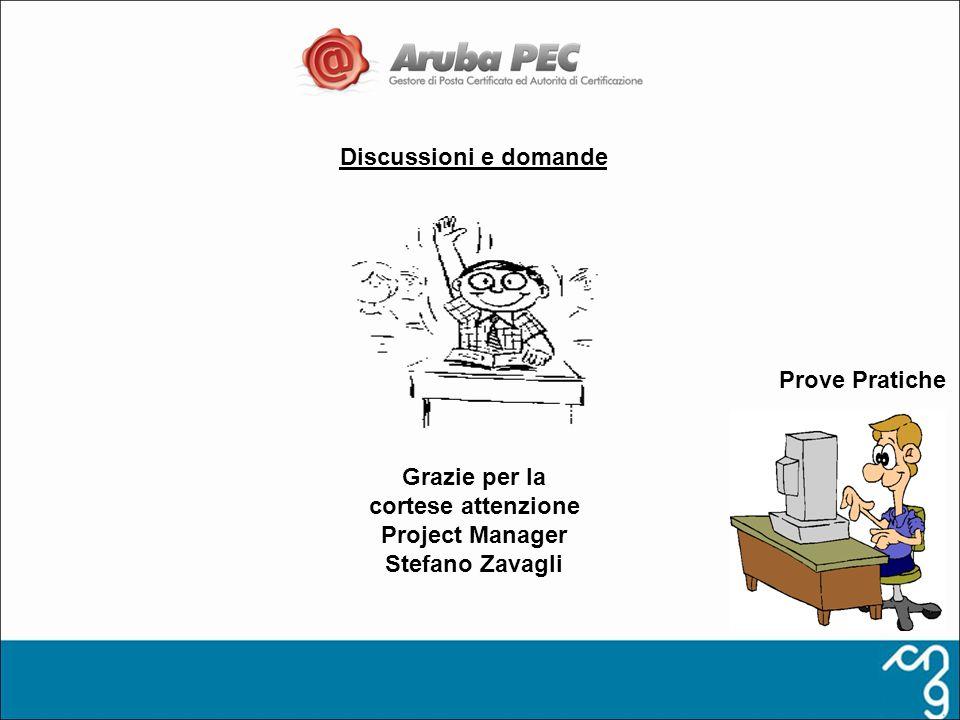 Discussioni e domande Grazie per la cortese attenzione Project Manager Stefano Zavagli Prove Pratiche