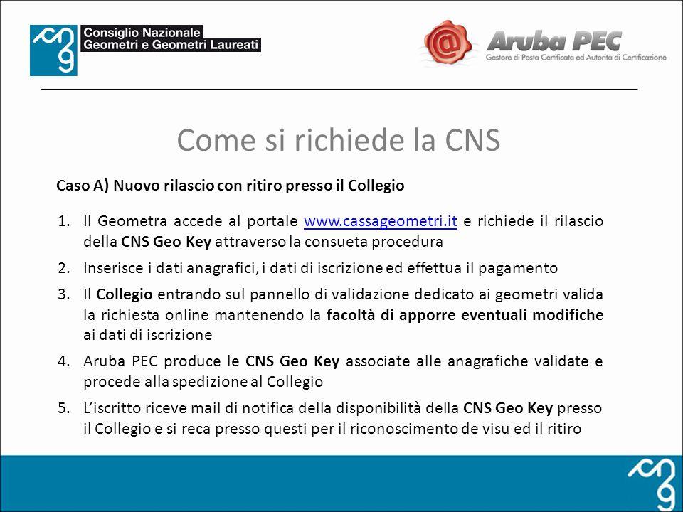 1.Il Geometra accede al portale www.cassageometri.it e richiede il rilascio della CNS Geo Key attraverso la consueta procedurawww.cassageometri.it 2.I