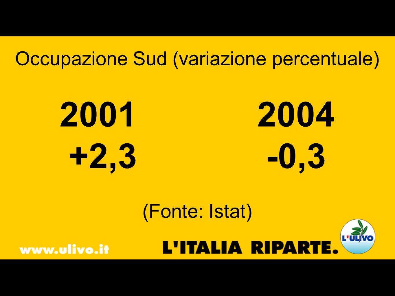 Occupazione Sud (variazione percentuale) 2001 2004 +2,3-0,3 (Fonte: Istat)