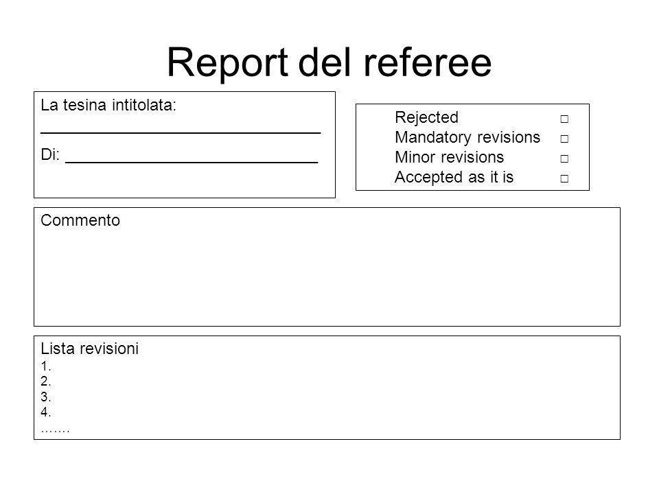 Report del referee: esempio Commento Il lavoro descrive lesperimento del pendolo semplice.