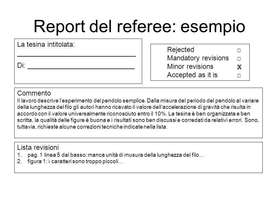 Report del referee: esempio Commento Il lavoro descrive lesperimento del pendolo semplice. Dalla misura del periodo del pendolo al variare della lungh