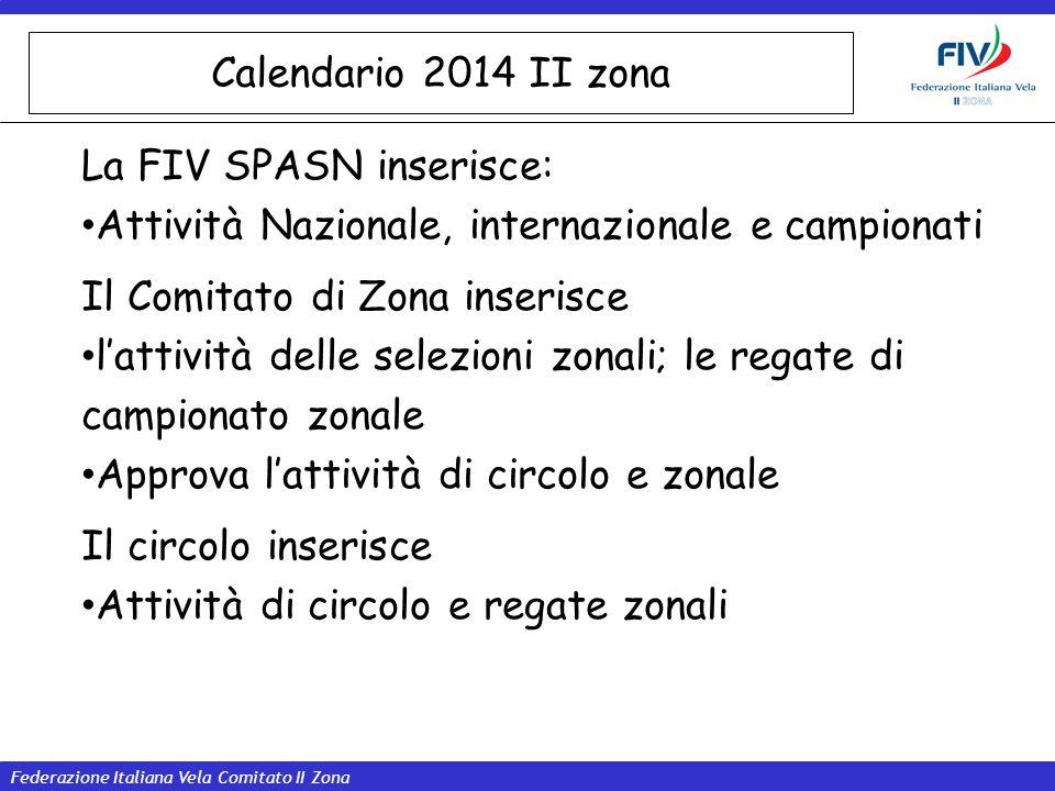 Federazione Italiana Vela Comitato II Zona Calendario 2014 II zona La FIV SPASN inserisce: Attività Nazionale, internazionale e campionati Il Comitato