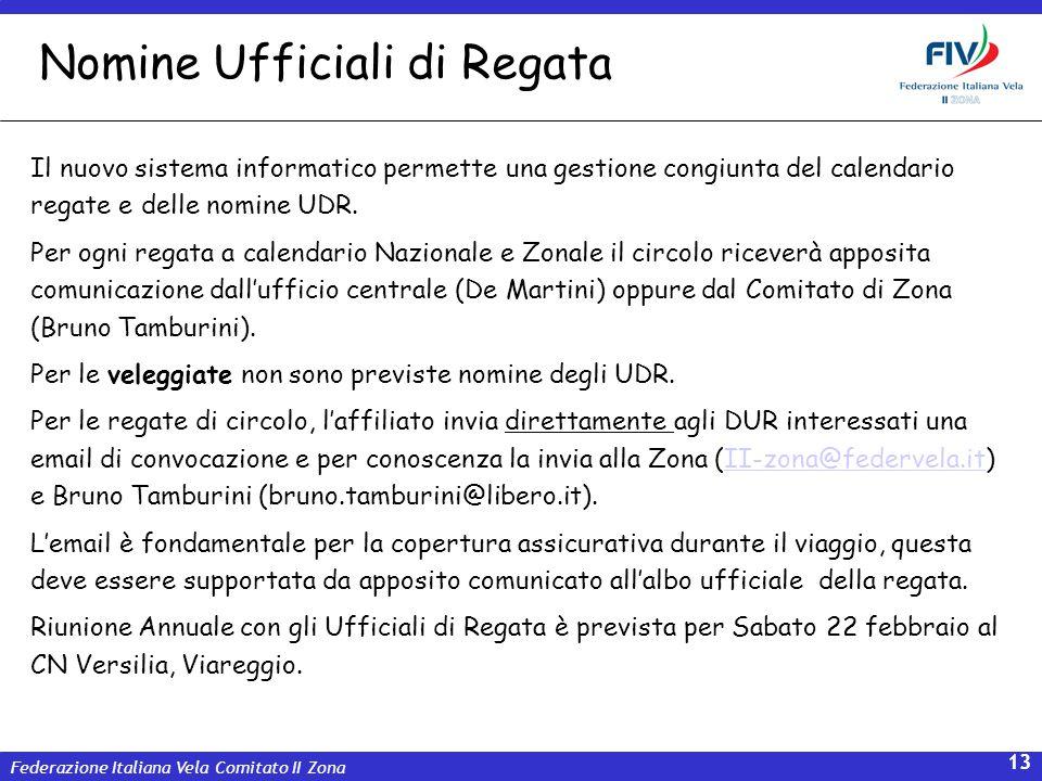 Federazione Italiana Vela Comitato II Zona 13 Il nuovo sistema informatico permette una gestione congiunta del calendario regate e delle nomine UDR. P
