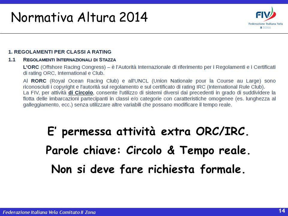 Federazione Italiana Vela Comitato II Zona 14 E permessa attività extra ORC/IRC. Parole chiave: Circolo & Tempo reale. Non si deve fare richiesta form