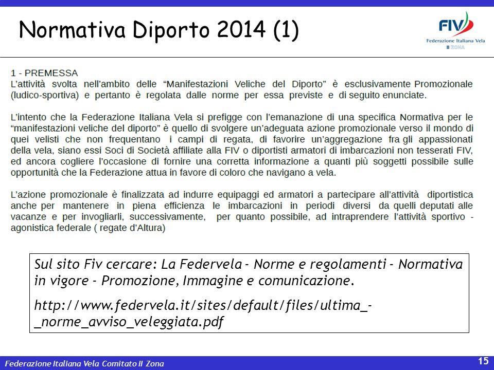 Federazione Italiana Vela Comitato II Zona 15 Normativa Diporto 2014 (1) Sul sito Fiv cercare: La Federvela - Norme e regolamenti - Normativa in vigor
