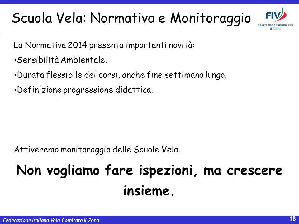 Federazione Italiana Vela Comitato II Zona 18 La Normativa 2014 presenta importanti novità: Sensibilità Ambientale. Durata flessibile dei corsi, anche