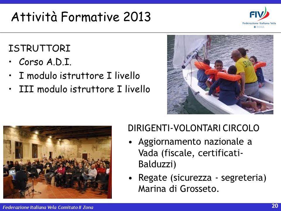 Federazione Italiana Vela Comitato II Zona 20 Attività Formative 2013 ISTRUTTORI Corso A.D.I. I modulo istruttore I livello III modulo istruttore I li