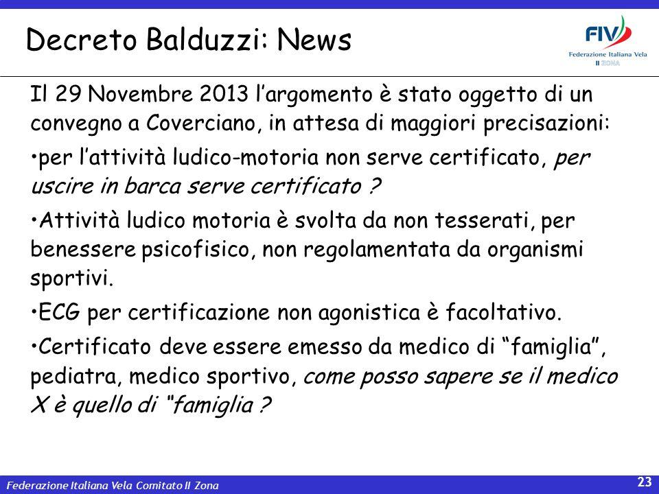 Federazione Italiana Vela Comitato II Zona 23 Decreto Balduzzi: News Il 29 Novembre 2013 largomento è stato oggetto di un convegno a Coverciano, in at