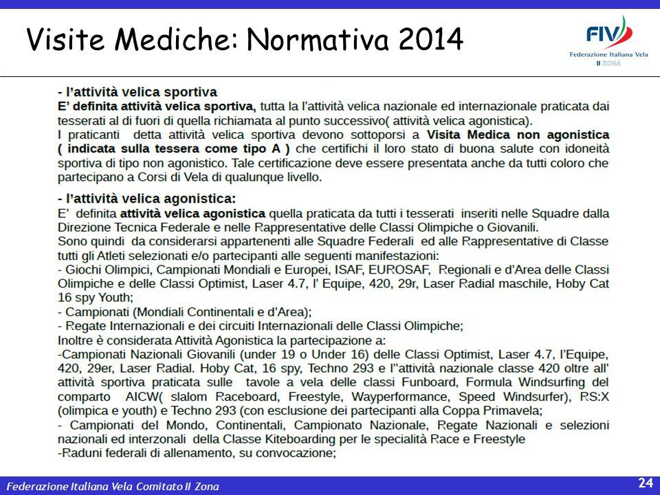 Federazione Italiana Vela Comitato II Zona 24 Visite Mediche: Normativa 2014